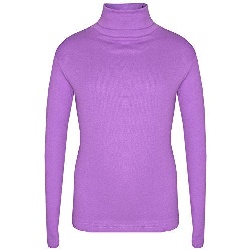Kids Girls Polo Neck T Shirt Thick Cotton Turtleneck Jumper Long Sleeve Top 2-13 Lilac