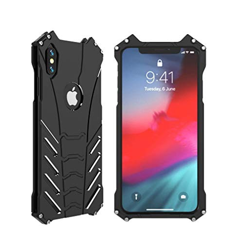 R-JUST iPhone Xs Max Metal case,Aluminum Protective Cover Shockproof Cool case,Light and Thin & Hollow Design for iPhone Xs Max Case 6.5'' (Black, iPhone Xs Max 6.5'')