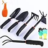 Yafei Gardening Tools Set, 7 Piece Cast- Duty Gardening Kit Includes Hand Trowel, Transplant Trowel and Cultivator Hand Rake with Soft Rubberized Non,Gardening Gifts Tools for Men Women (Black)