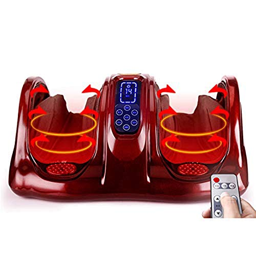 ZCHAN Foot Massager-Best Choice Products Therapeutic Kneading and Rolling Shiatsu Foot Massager for Foot, Ankle, Nerve Pain with Remote Contro (Color : Red)