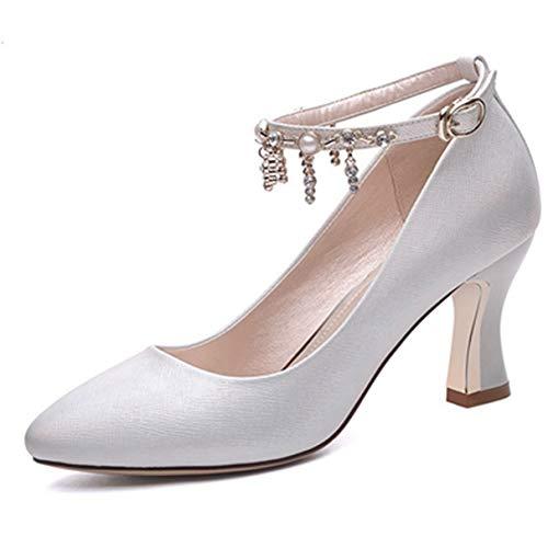 Stilvolle Damen Pumps Spitzschuh Knöchelriemen Damen Elegante High Heel Schuhe