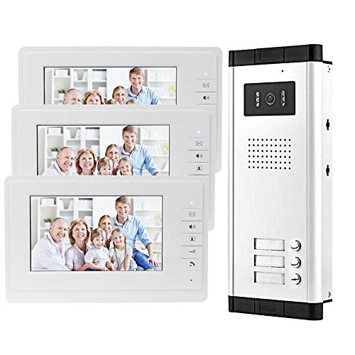 OBO HANDS 7'' Wired Color Video Door Phone Intercom System IR Night Vision Camera Doorbell +Indoor Monitor Screens for 2/3/4 Apartments
