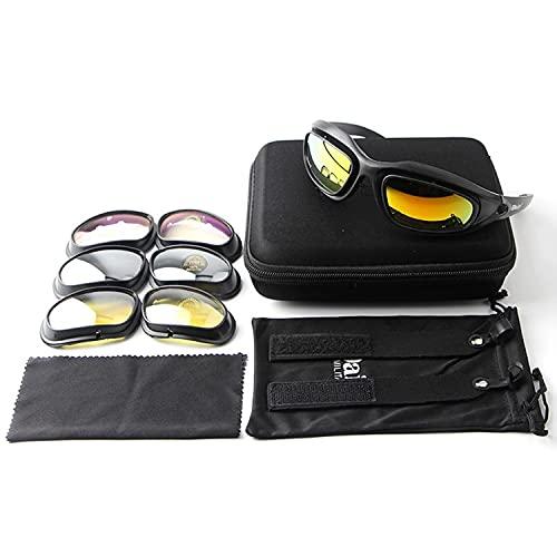 NQ-ChongTian C5 polarizado motocicleta montar gafas marco negro con 4 lente kit para deportes al aire libre