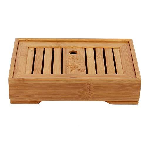 Bambus-Teetablett, Rechteck-Serviertee-Tablett mit Wasserspeicher Chinesisches Gong-Fu-Teeset Home Office
