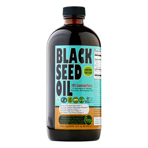 Sweet Sunnah Black Seed Oil Liquid - 2.26% Thymoquinone Cold-Pressed Black Cumin Seed Oil From Pure Nigella Sativa - First Pressing Blackseed Oil For Immune Support - 16 Oz Glass Bottle