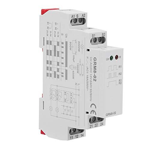 Mugast GRM8-02 Din Rail Relé de impulso electrónico Relé de bloqueo Relé de memoria con indicador LED, rendimiento estable, CA/CC 12-240V