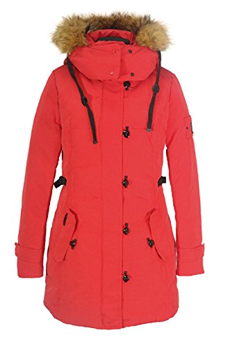 MISS SUN SID-G595 Damen Daunenmantel SNOWIMAGE mit ECHTFELL Kapuze (Länge: 80 cm) realfur down coat