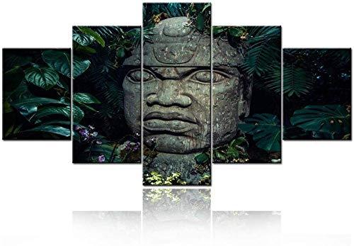 Lienzo Arte de la pared Cuadros de la pared de la habitación Estatua de la cabeza olmeca en pinturas de la selva Arte de la religión india antigua 5 piezas Lienzo azteca Arte de la pared Retro Sa