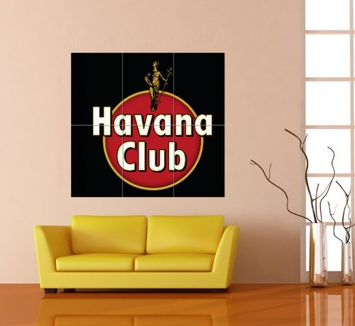HAVANA CLUB BLACK EMBLEM LOGO RED DISC WHITE TEXT RUM ALCOHOL CUBA GIANT POSTER PLAKAT DRUCK PRINT B153