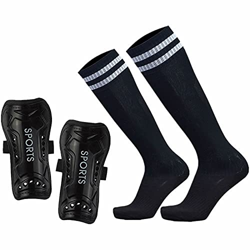 GeekSport Youth Soccer Shin Guards Toddler Soccer Shin Pads USA Child Calf Protective Gear for 3 5 4-6 7-9 10-12 Years Old Girls Boys Children Kids Teenagers with Soccer Socks Black M 3'10-4'8 Tall