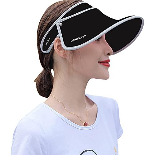 Sidiou Group UPF 50+ Cappello da Sole Anti UV Cappello Estivo Sole Visiera Estiva Donna Cappuccio di Protezione Parasole Vuoto Spiaggia Viaggi Escursionismo Cappello a Tesa Larga (1644 Nero)