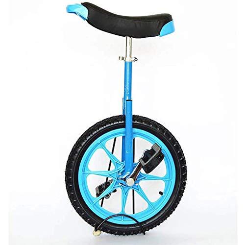 LIfav 16 Zoll Kinder Einrad, Höhenverstellbarer Griffige Reifen Einzel-Runde Gleichgewicht Bike Radfahren, Für Anfänger Kinder Erwachsene Übung Fun Fitness,Blau