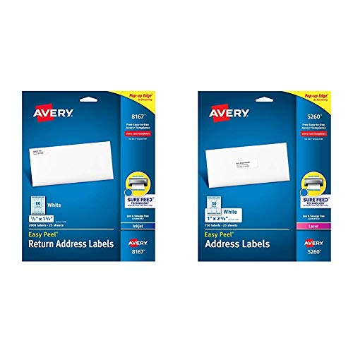"Avery Address Labels with Sure Feed for Inkjet Printers, 0.5"" x 1.75"", 2,000 Labels, Permanent Adhesive & Address Labels with Sure Feed for Laser Printers, 1"" x 2-5/8"", 750 Labels, White"