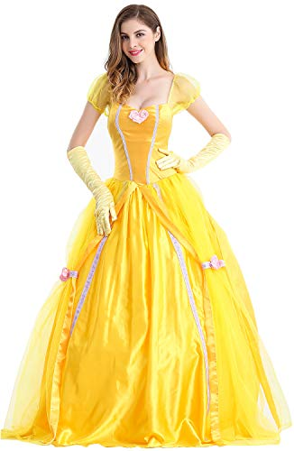 Feicuan Donna Principessa Belle Costumi Fancy Dress Up carnevale Halloween Party Giallo Queen