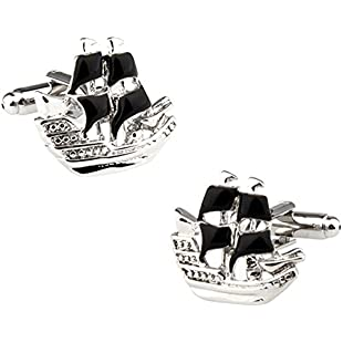 Ashton and Finch Pirate Galleon Ship Cufflinks in a FREE Luxury Presentation Box. Novelty Nautical Theme Jewellery