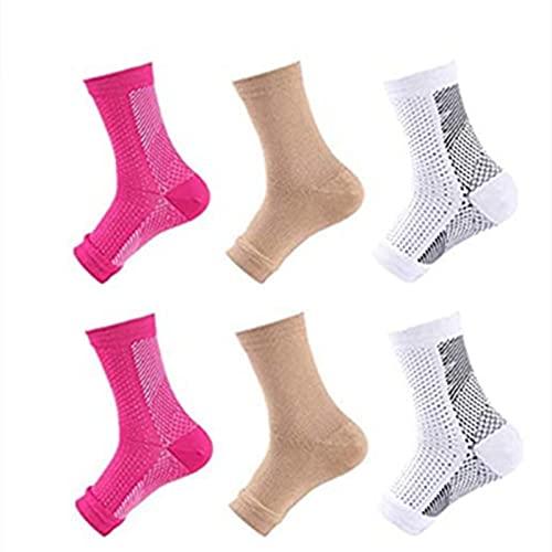 woejgo 6 pares de calcetines de compresión magnéticos para el tobillo para fascitis plantar, soporte para arco del pie, vendaje para alivio del espolón calcáneo (S/M, color claro)