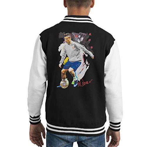 VINTRO Cristiano Ronaldo Dribbling A Football Kids Varsity Jacket Original Portrait von Sidney Maurer Professionell bedruckt Gr. L, Jet Black Arctic White