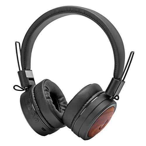 SBS JAZ Cuffie Stereo Hard Bop, Wireless V5.0, Pieghevoli con Inserti in Legno, Microfono e comandi integrati, padiglioni Imbottiti e Lettore TF Card