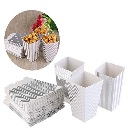 NUOLUX Popcorn Boxen, Party Candy Container behandeln Kartons, Silber