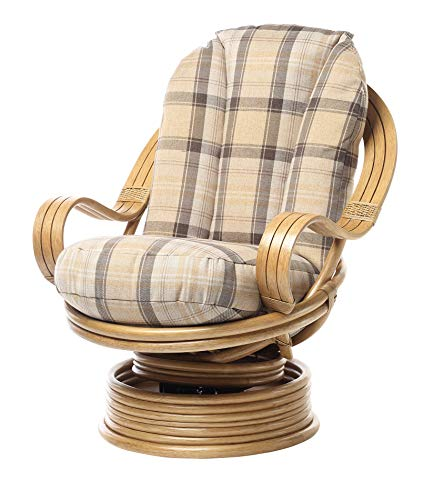 Desser Light Oak Deluxe Swivel Rocker Chair with Highland Cushion – 360° Swivel with Rocking Motion & Laminated Arms – Real Cane Rattan Conservatory Indoor Furniture – Quallofil Technology