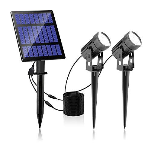 Faretti Solari da Giardino, T-SUNRISE Luci Solari Esterne IP65 impermeabili Lampade Solari LED da Esterno da parete ON/OFF automatici bianco freddo (2 Pack)