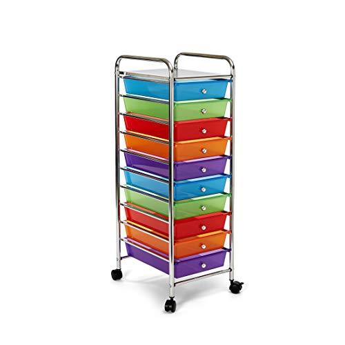 Seville Classics, Multi-Color 10-Drawer Organizer Cart