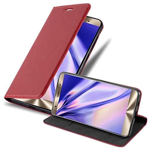 Cadorabo Hülle für ASUS ZenFone 3 Deluxe - Hülle in Apfel ROT – Handyhülle mit Magnetverschluss, Standfunktion & Kartenfach - Case Cover Schutzhülle Etui Tasche Book Klapp Style