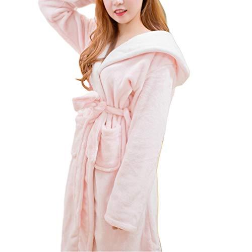 TOPBATHY Frauen Plüsch weichen warmen Fleece-Bademantel mit Kaninchen Ohr niedlichen Bademantel Damen Winter Nachtwäsche für Frauen zu Hause tragen