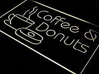 ADVPRO OPEN Coffee & Donuts Cafe Bar LED看板 ネオンプレート サイン 標識 Yellow 400 x 300mm st4s43-i310-y