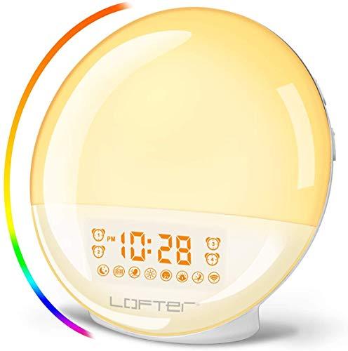 LOFTER Despertador Luz Wifi Wake Up Light LED Despertador Amanecer Natural Lampara Inteligente Compatible con Alexa Echo y Google Home, Doble Despertadores, Radio FM, 20 Brillo, 7 Sonidos de Naturales