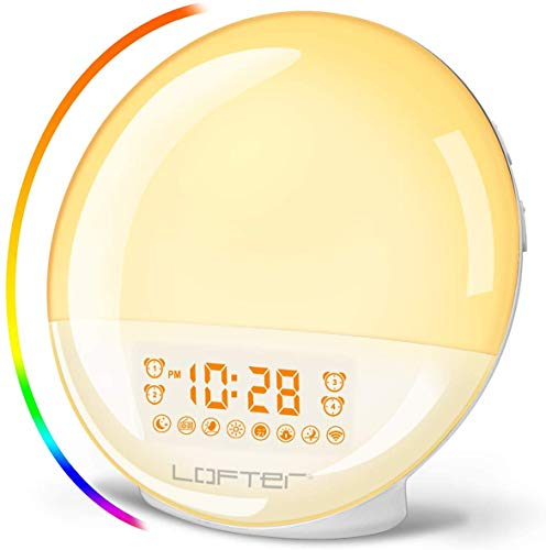 LOFTER Despertador Luz Wifi Wake Up Light LED Despertador Amanecer Natural Lampara Inteligente Compatible con Alexa Echo y Google Home, Doble Despertadores, Radio FM, 20 Brillo, 7 Sonidos de Naturales
