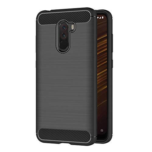 AICEK Xiaomi Pocophone F1 Hülle, Schwarz Silikon Handyhülle für Xiaomi Pocophone F1 Schutzhülle Karbon Optik Soft Hülle (6,18 Zoll)
