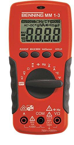 BENNING MM 1-3 Multimeter 4-Digits Auto-Range und/oder manuell Ja/Ja 1Hz-20MHz für mV mV 0,001nF-2mF CAT III 600 V TRUE RMS Ja