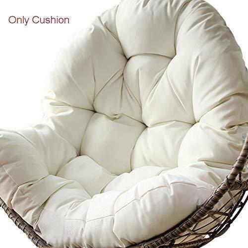 QIAOTT Silla De Hamaca De Huevo Colgante Thicken Cushions,Impermeable Cojín De Mimbre Cuna Suave Cojín De La Cesta De La Mecedora Interiores -Blanco 86x120cm(34x47inch)