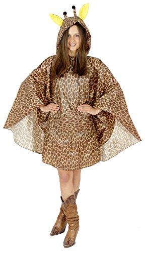 Foxxeo Giraffen Party Poncho für Damen und Herren zu Karneval Fasching Party Regen Schnelles Kostüm