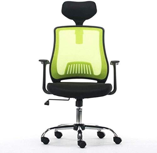 DGHJK Schreibtischstühle , Ergonomischer Bürostuhl Aufgabe Drehbarer Computerstuhl Armlehnen Atmungsaktiver Netzkniestuhl Mit Hoher Rückenlehne (Farbe: Grün)