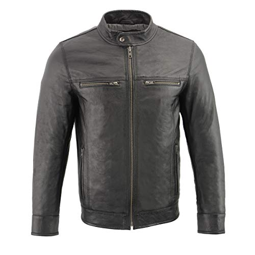 Milwaukee Leather SFM1866 Men's Classic Black Moto Leather Jacket with Zipper Front - 5X-Large