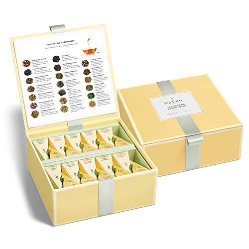 Teekiste von Tea Forté mit 40 Handgefertigten, Pyramidenförmigen Teebeuteln Verschiedener Sorten zum Probieren - mit Schwarzem Tee, Kräutertee, Oolong-Tee, Grünem Tee und Weißem Tee