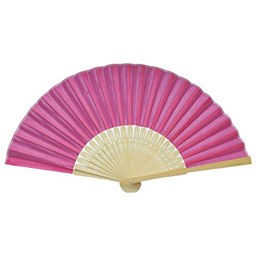 【全15色】 扇子 和装 小物 メンズ レディース 男女兼用 収納袋 付き 夏 浴衣 祭り 無地 単色 オシャレ (薔薇色) PR-IROSENSU-BARA