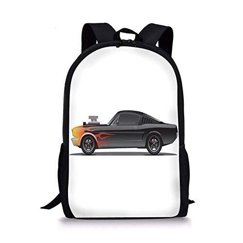 Lawenp Schultaschen Autos, Custom Design Muscle Car mit Kompressor und Flames Roadster Retro Styled Dekorativ