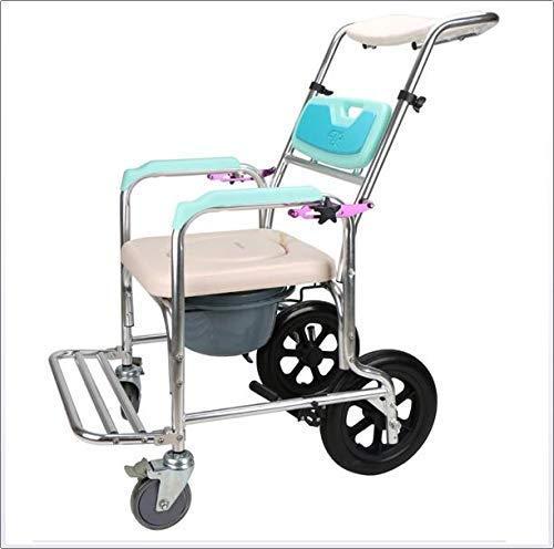Z-SEAT Leichter klappbarer Rollstuhl, der medizinische, verstellbare Rückenlehne Winkel Shampoo Bad Toilettenstuhl waschen Aluminium Rollstuhlsitz