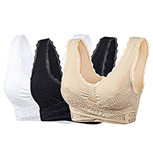 Adayn 2 PCS Instacomfort Wireless Lace Lift Bra Back Support,Easy Comfort Bra Front Buckle Seamless Anti-Sagging Sports Yoga Bralette Sleep Bras Wide Straps (E, XXL)