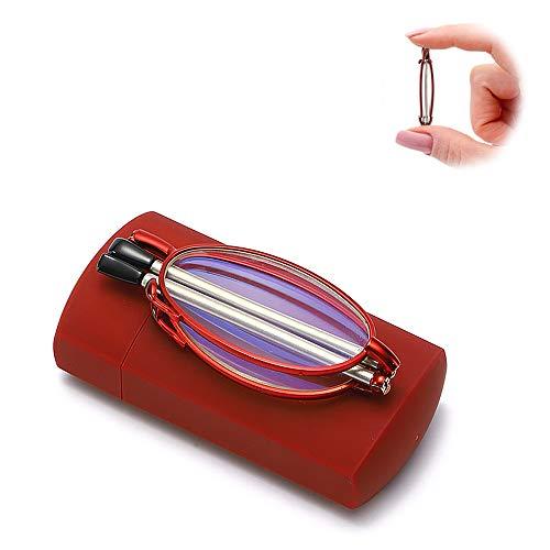 L-KCBTY Moda Compactas Gafas De Lectura Plegables,Anteojos para Leer Portátiles Ultrafino,para Mujeres...