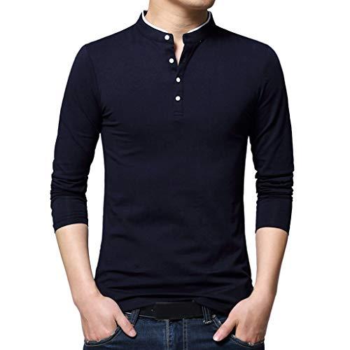 DNOQN Longsleeve Herren V Ausschnitt Poloshirt Baumwolle Stehkragen Langarm T-Shirt Pure Bluse Top Marine XXL
