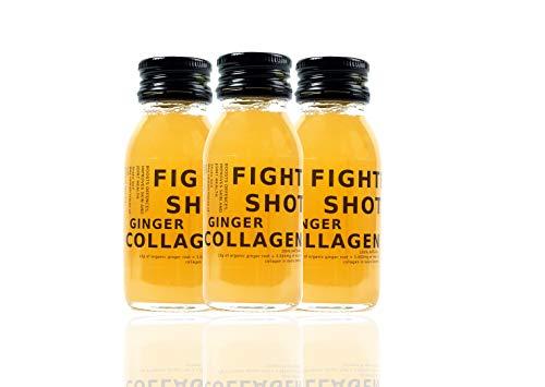 Fighter Shots Organic Ginger + Marine Collagen 3,000mg - 100% Natural - Collagen Drink - 12x60ml (Collagen)