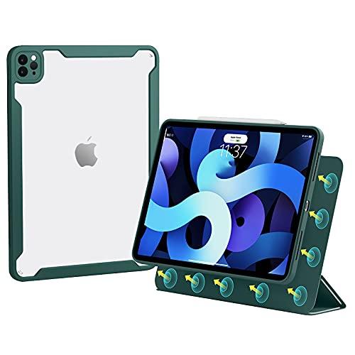 HaoHZ Funda para iPad Pro 11 2021 - [Carcasa Trasera De Acrílico Transparente + Carcasa Magnético Desmontable + Carga De Lápiz De Segunda Generación], Funda para iPad Air 2020 4A Gen 10.9,Verde