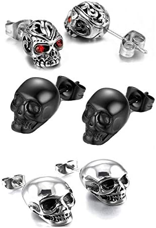 3 Pairs Gothic Skull Earring Studs for Men Women Hypoallergenic for Hallloween Party Cosplay product image