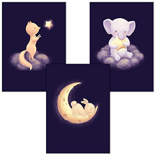 Bilderzeile® 3er Kinderzimmer Poster Babyzimmer | Mädchen Junge | Kinderposter Bilder | Babyzimmer Dekoration Gute Nacht Wolke DIN A4 - Set #01