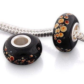 Andante-Stones 925 Sterling Silber Murano Glas Bead Marmor Element Kugel für European Beads + Organzasäckchen