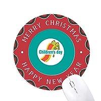 ピュアハッピー 円形滑りゴムのクリスマスマウスパッド